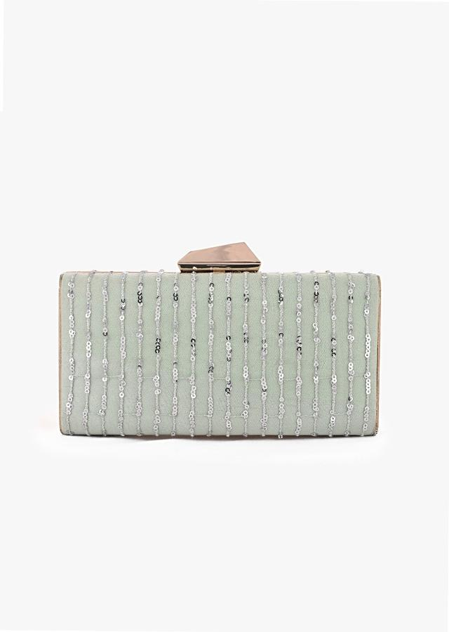 Pista Green Box Clutch With Embroidered Net Adorned In Resham And Sequins In Striped Design Online - Kalki Fashion