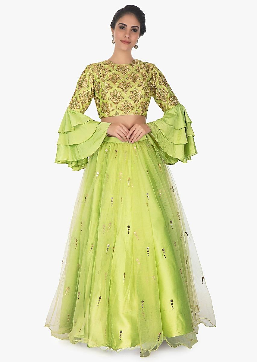 28a551c4947e87 Pista green brocade crop top in layered sleeves with satin net skirt only  on KalkiMore Detail