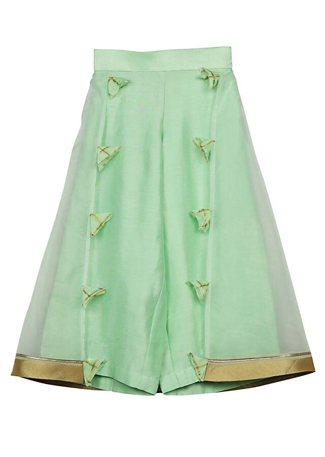 Pista Green Checks Crop Top And Palazzo Pants With Organza Top Layer Online - Free Sparrow