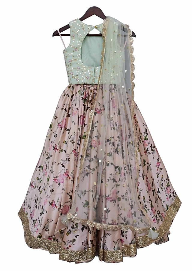 Pista Green Choli And Peach Lehenga With Floral Jaal Pattern By Fayon Kids