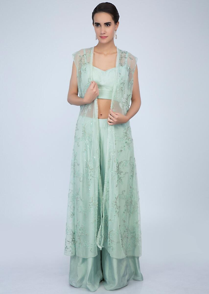 6796fbf9051 Pista green crop top and palazzo with matching embroidered net jacket only  on Kalki