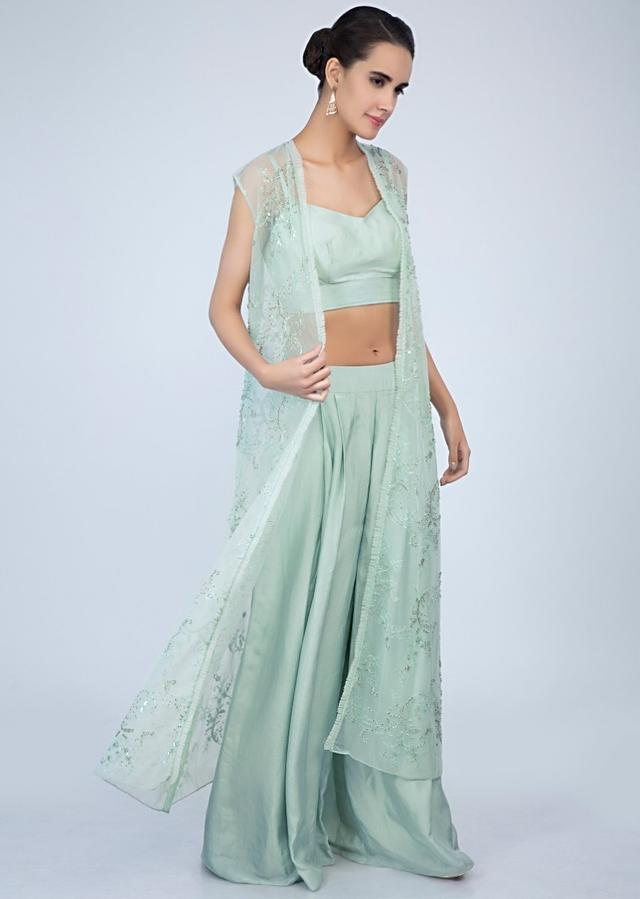 Pista Green Crop Top And Palazzo With Matching Embroidered Net Jacket Online - Kalki Fashion