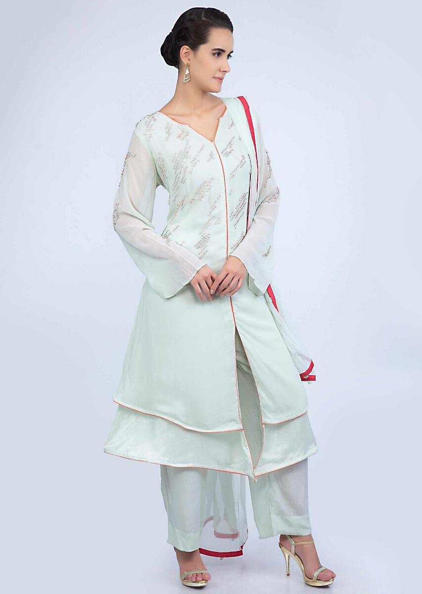 99a0652d52 Pista green double layer embroidered georgette suit with matching straight  pant and dupatta only on Kalki