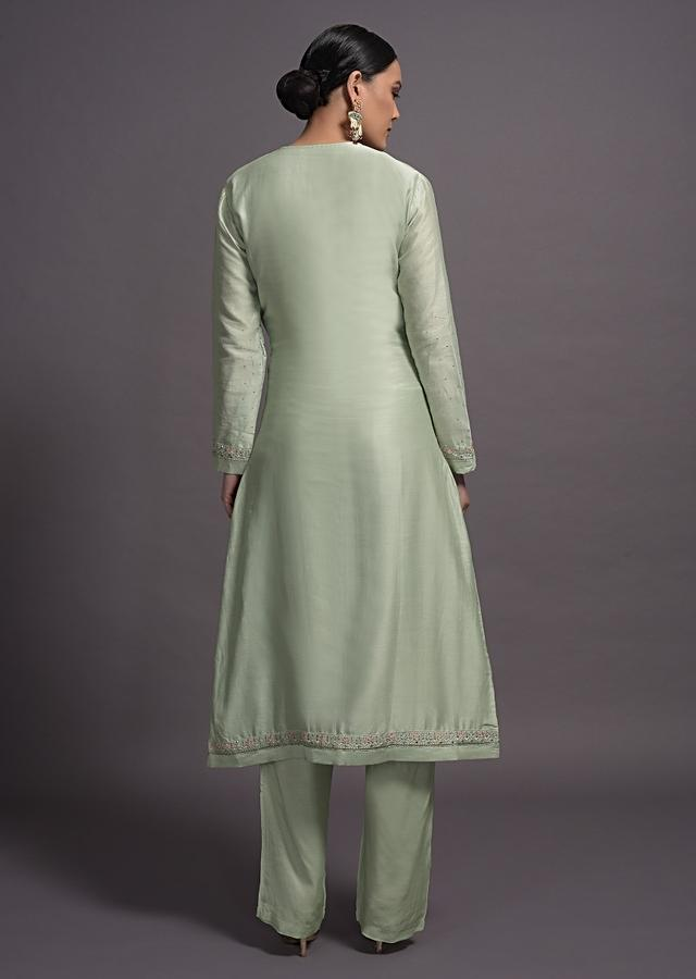 Pista Green Embroidered Silk Suit With Matching Pant And Dupatta Online Kalki Fashion