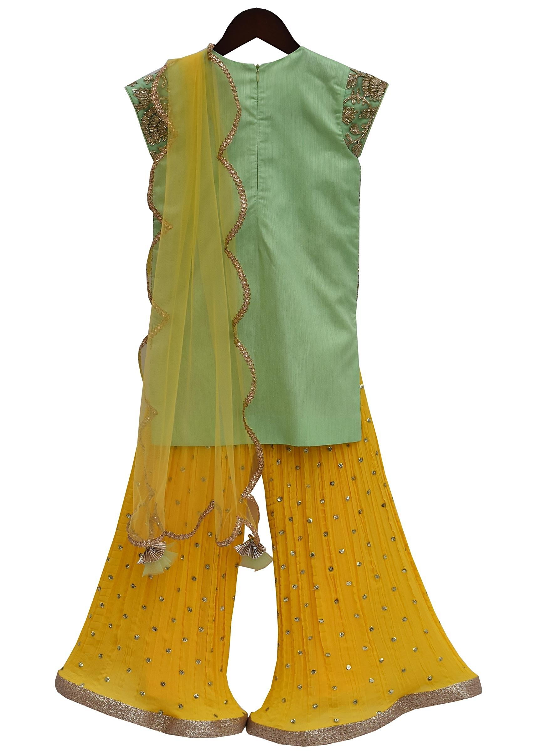 d5a33fd767 Pista Green Gota Embroidery Kurti with Yellow Sharara by Fayon Kids