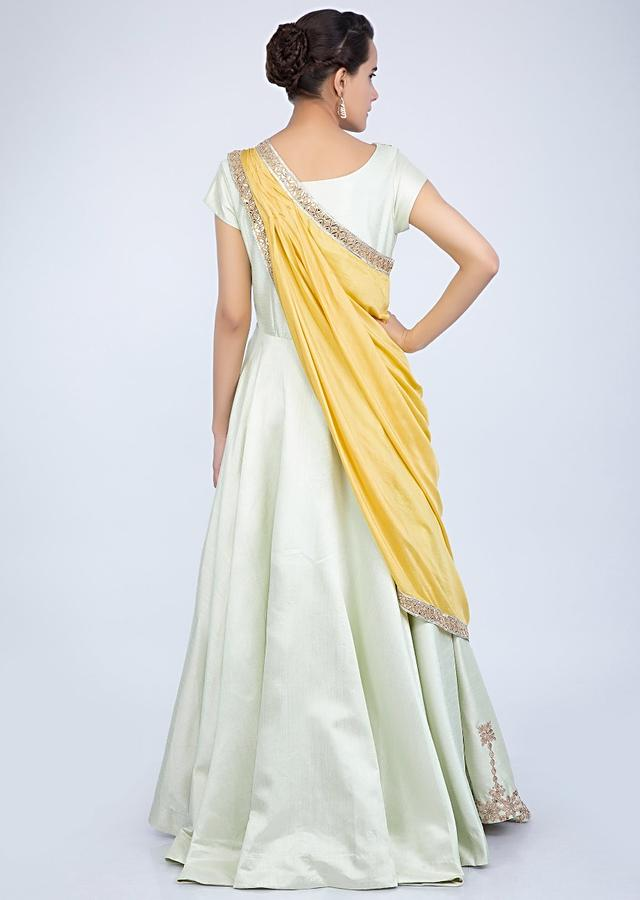 Pista Green Anarkali With Gotta Embroidery And Pre Stitched Ready Pleated Draped Dupatta Online - Kalki Fashion