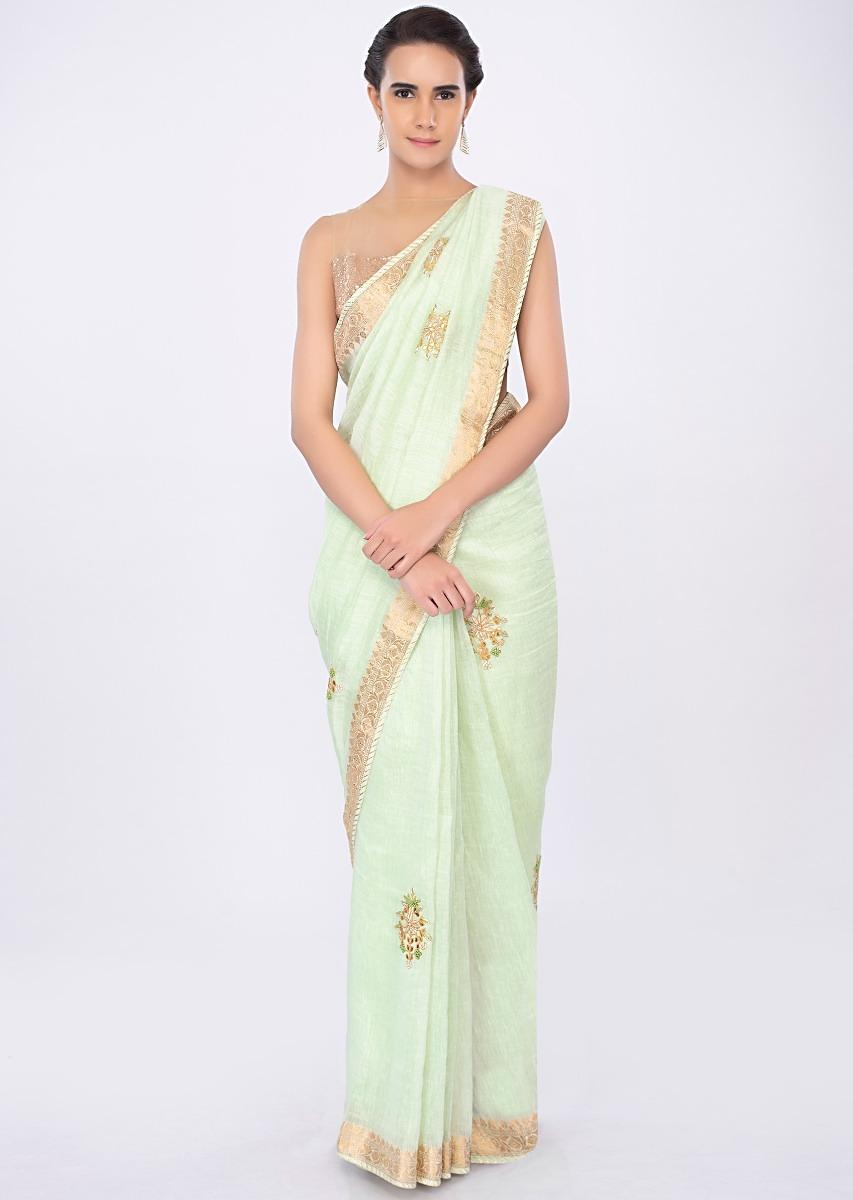 be8f11f8cfbfe Pista green linen saree with butti work only on kalkiMore Detail