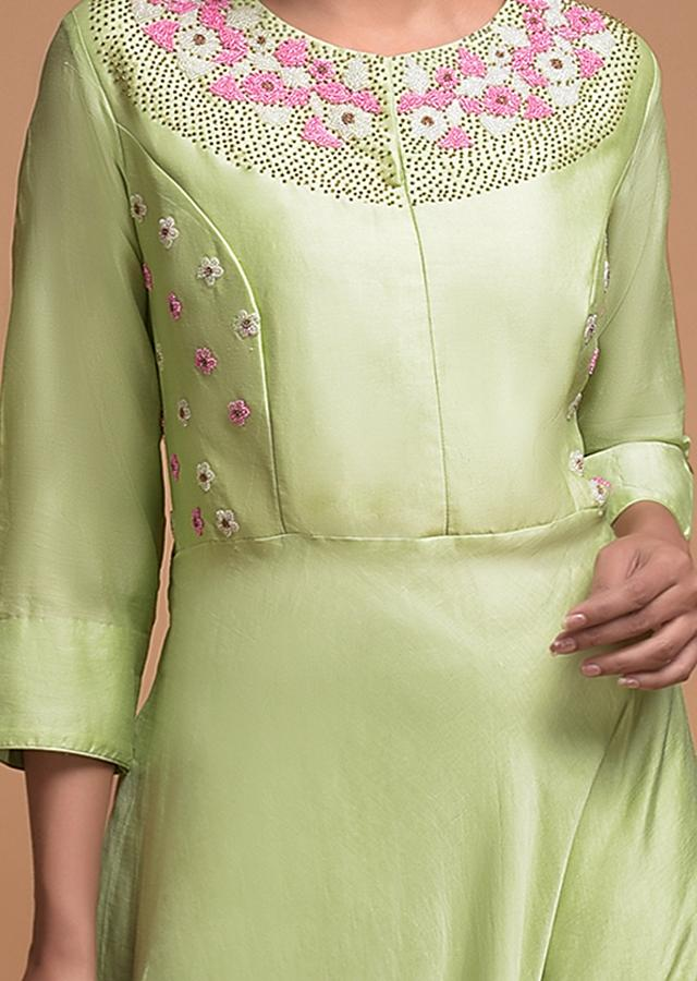 Pista Green Long Dress In Cotton With Beads Embroidered Floral Pattern Online - Kalki Fashion