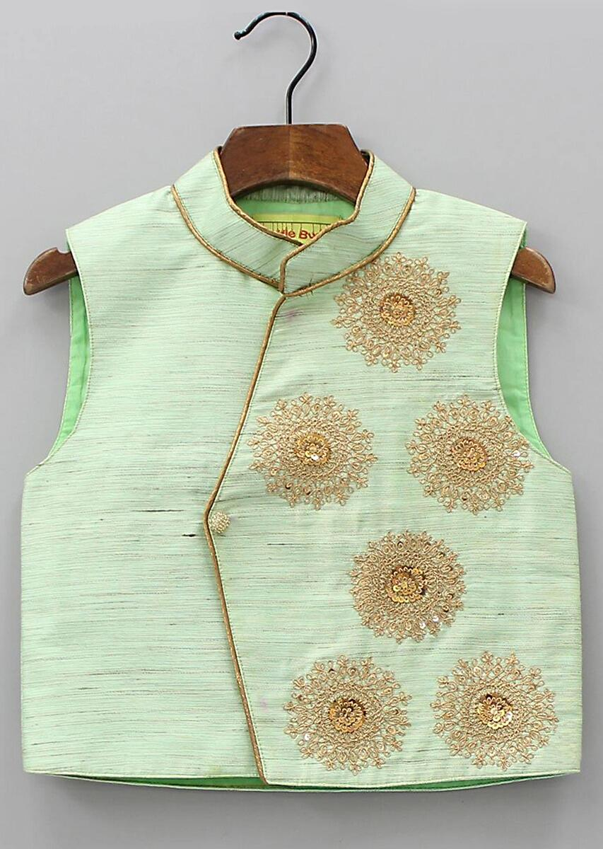 2744217cdf44 Pista green Nehru jacket in silk with embroidered butti