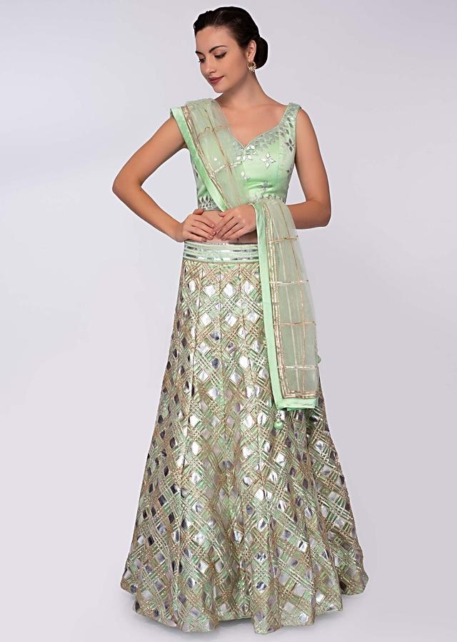 Pista Green Lehenga In Net With Patch Work Paired With Matching Blouse And Net Dupatta Online - Kalki Fashion