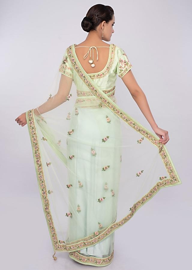 Pista Green Saree In Net With Floral Resham Embroidery And Butti Online - Kalki Fashion