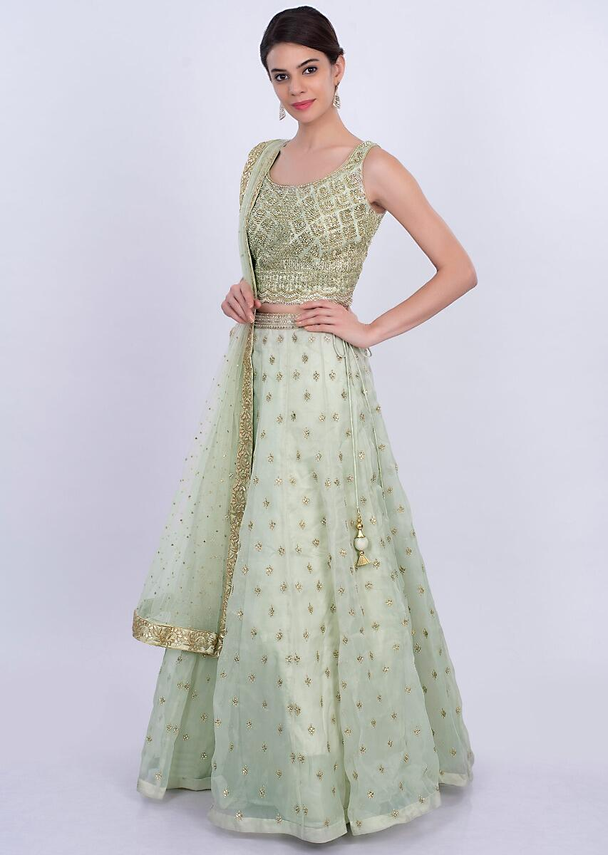 Pista green organza lehenga set with matching net dupatta only on KalkiMore  Detail 07c9aa426