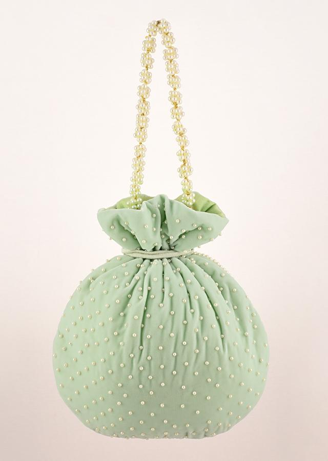 Pista Green Potli Bag In Velvet With Moti Work In Crescent Design Along The Edge And Scattered In The Centre By Shubham