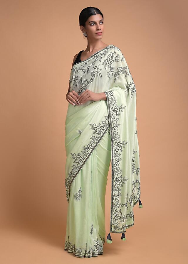 Pista Green Saree In Crepe With Beads In Floral Buttis And On The Border Online - Kalki Fashion