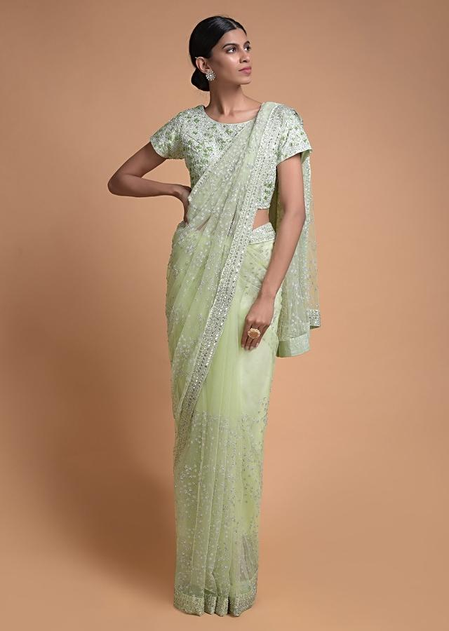 Pista Green Saree In Net Embellished With Sequins And Cut Dana Work In Floral Motifs Online - Kalki Fashion