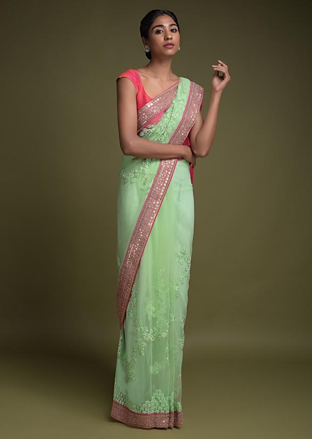 Pista Green Saree In Net With Applique, Thread And Sequins Embroidered Floral Pattern Online - Kalki Fashion