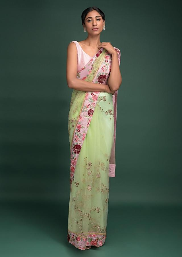 Pista Green Saree In Net With Velvet Patch Work In Floral Pattern On The Border Online - Kalki Fashion