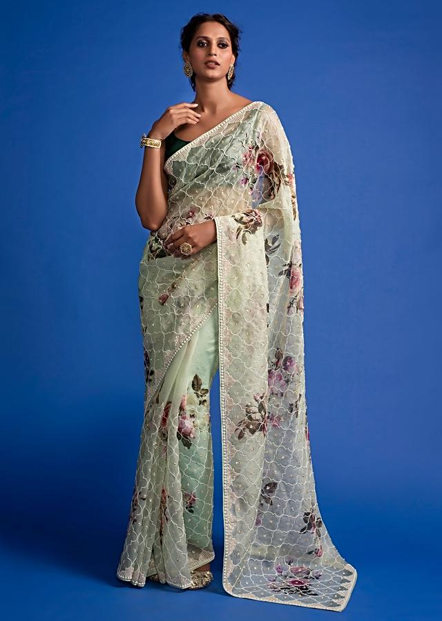 Pista Green Saree In Organza With Floral Print All Over And Embroidery Work Online - Kalki Fashion