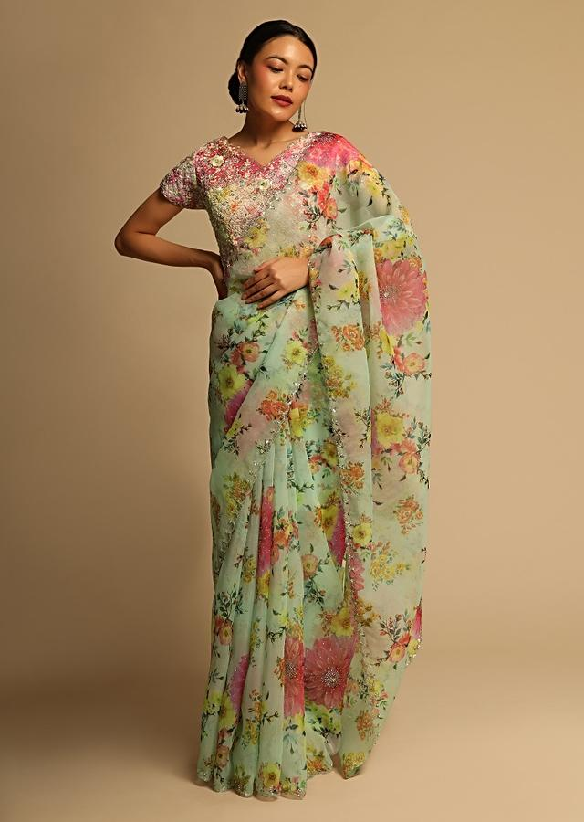 Pista Green Saree In Organza With Floral Print And Cut Dana Embroidery Along With Ready Stitched Blouse Online - Kalki Fashion
