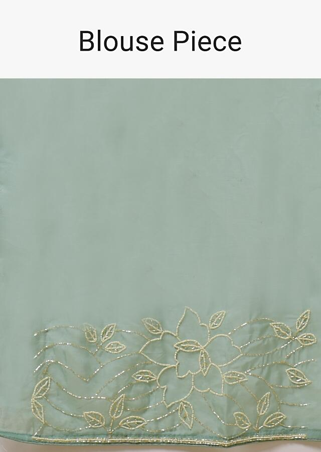 Pista Green Saree In Organza With Moti And Cut Dana Embellished Floral Design On The Border Online - Kalki Fashion