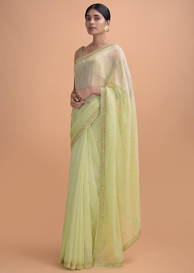 Pista Green Saree In Silk With Embroidered Border And Buttis Online - Kalki Online