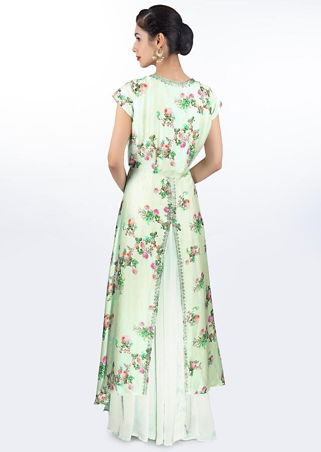 Pista Green Dress In Satin Crepe With Floral Embroidery Paired With Long Printed Jacket Online - Kalki Fashion