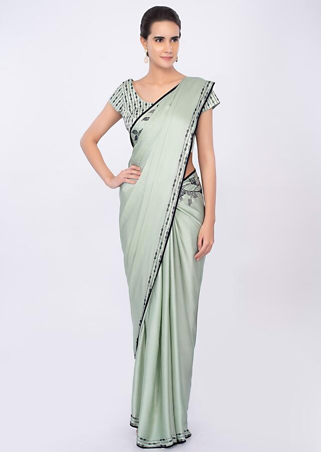 Pista Green Saree In Satin With Kundan Embroidery In Floral Motif Online - Kalki Fashion