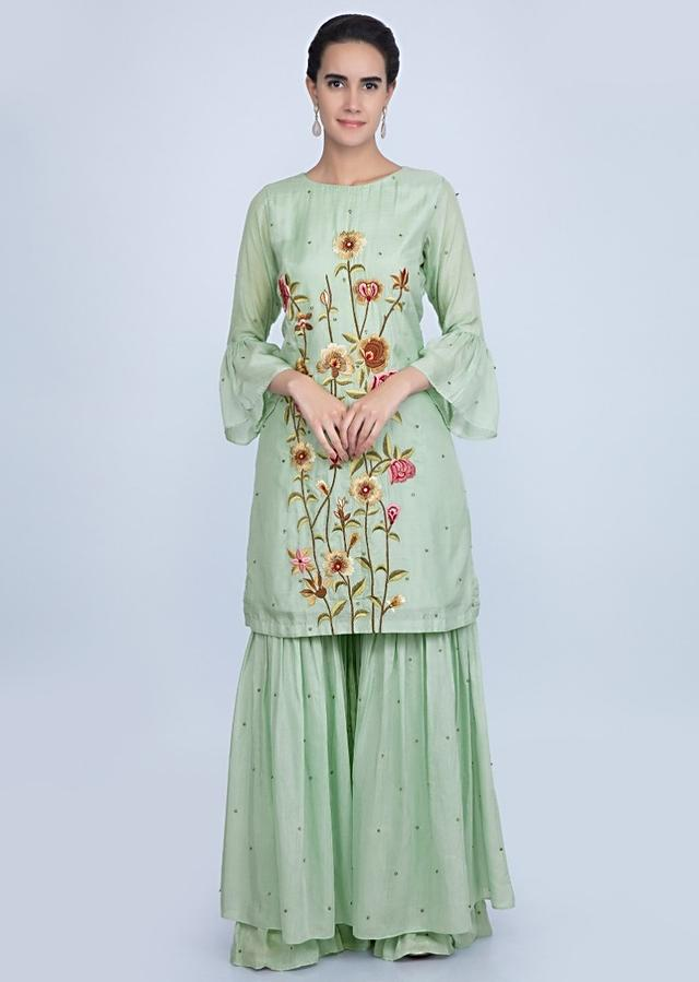 Pista green sharara suit set with multi color floral resham embroidery only on Kalki