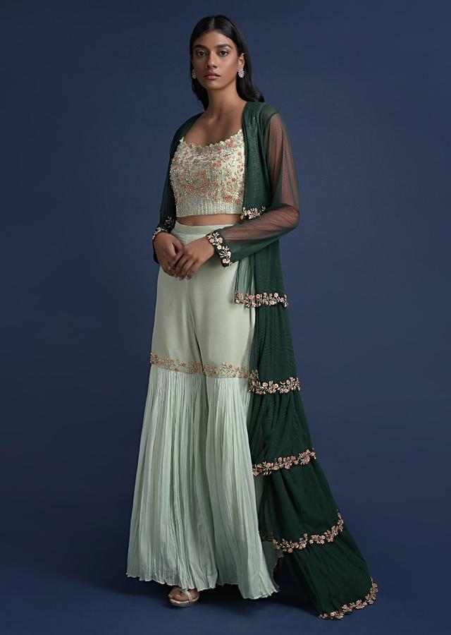 Pista Green Sharara Suit With Long Emerald Green Jacket In Layered Pattern Online - Kalki Fashion
