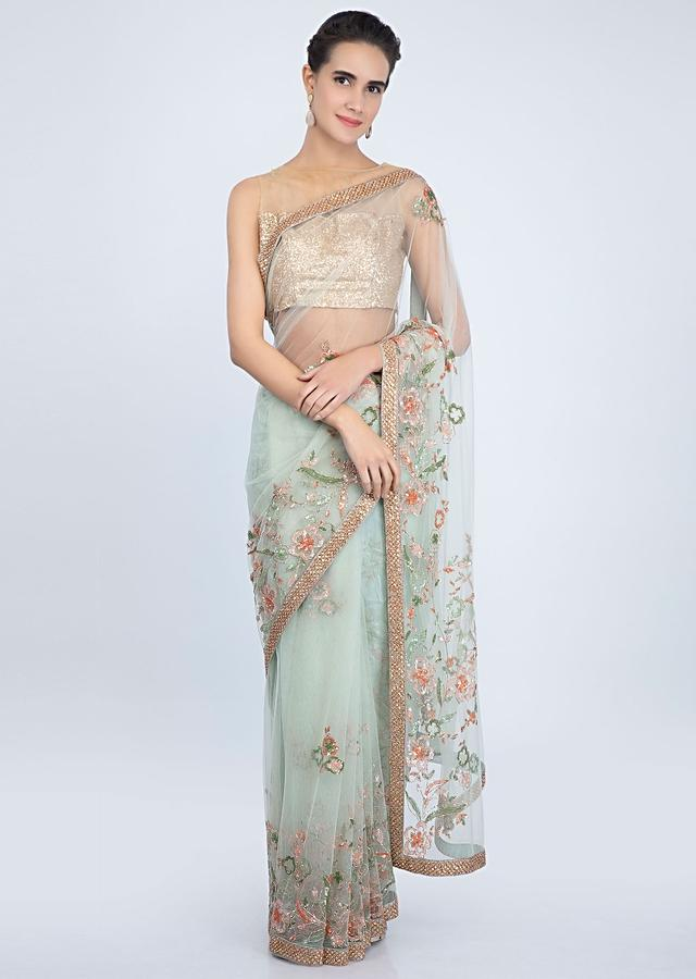 Pista Green Saree In Sheer Net With Sequins Embroidered Buttis And Border Online - Kalki Fashion