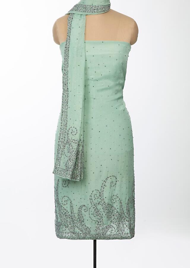Pista Green Unstitched Suit Set In Shimmer Chiffon With Moti And Sequins Online - Kalki Fashion