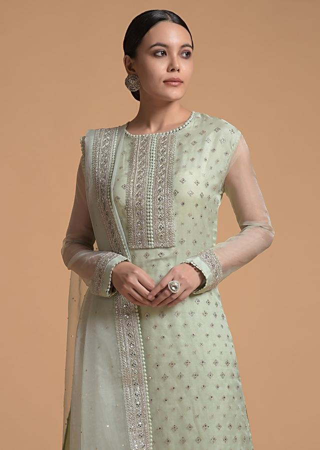 Pista Green Straight Cut Suit With Sequins Buttis All Over And Cord Embroidery On The Placket And Border Online - Kalki Fashion