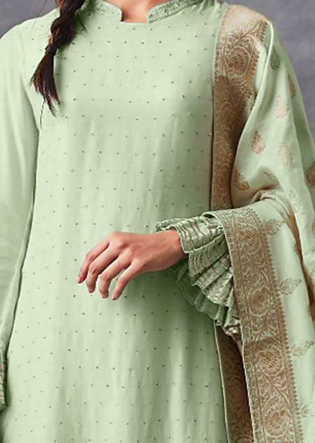 Pista Green Straight Suit With Badla Work And Matching Palazzo Bottoms Online - Kalki Fashion