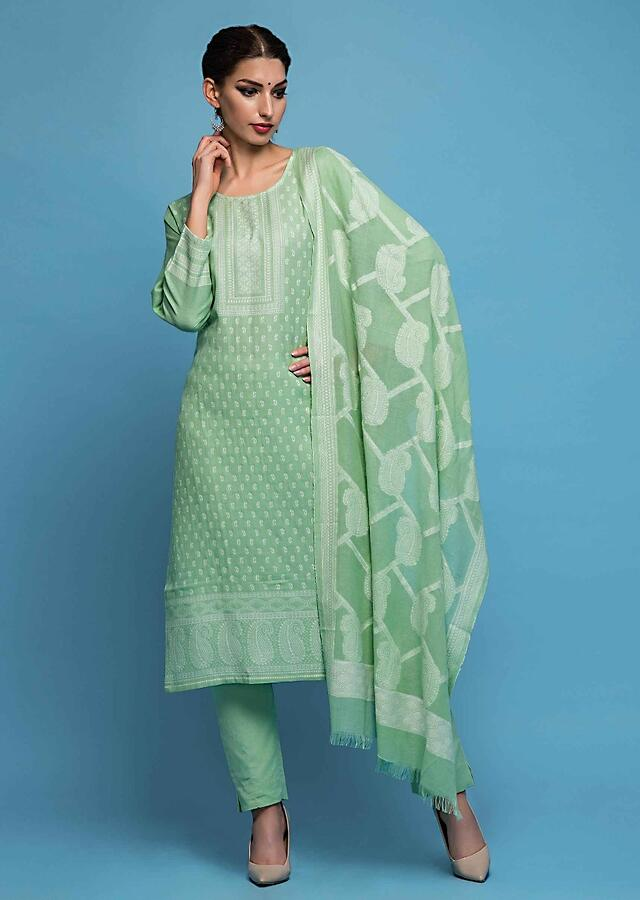 Pista Green Unstitched Suit In Cotton With White Thread Paisley Motif Embroidery Online - Kalki Fashion