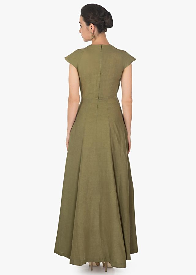 Pista Olive Green Overlapping Layers Dress With Cat Motifs Online - Kalki Fashion