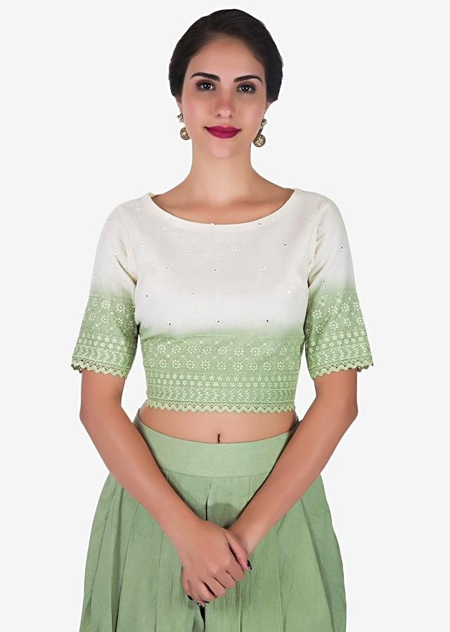 Pista Green And White Dhoti Suit Adorn In Beautiful Thread Work Online - Kalki Fashion