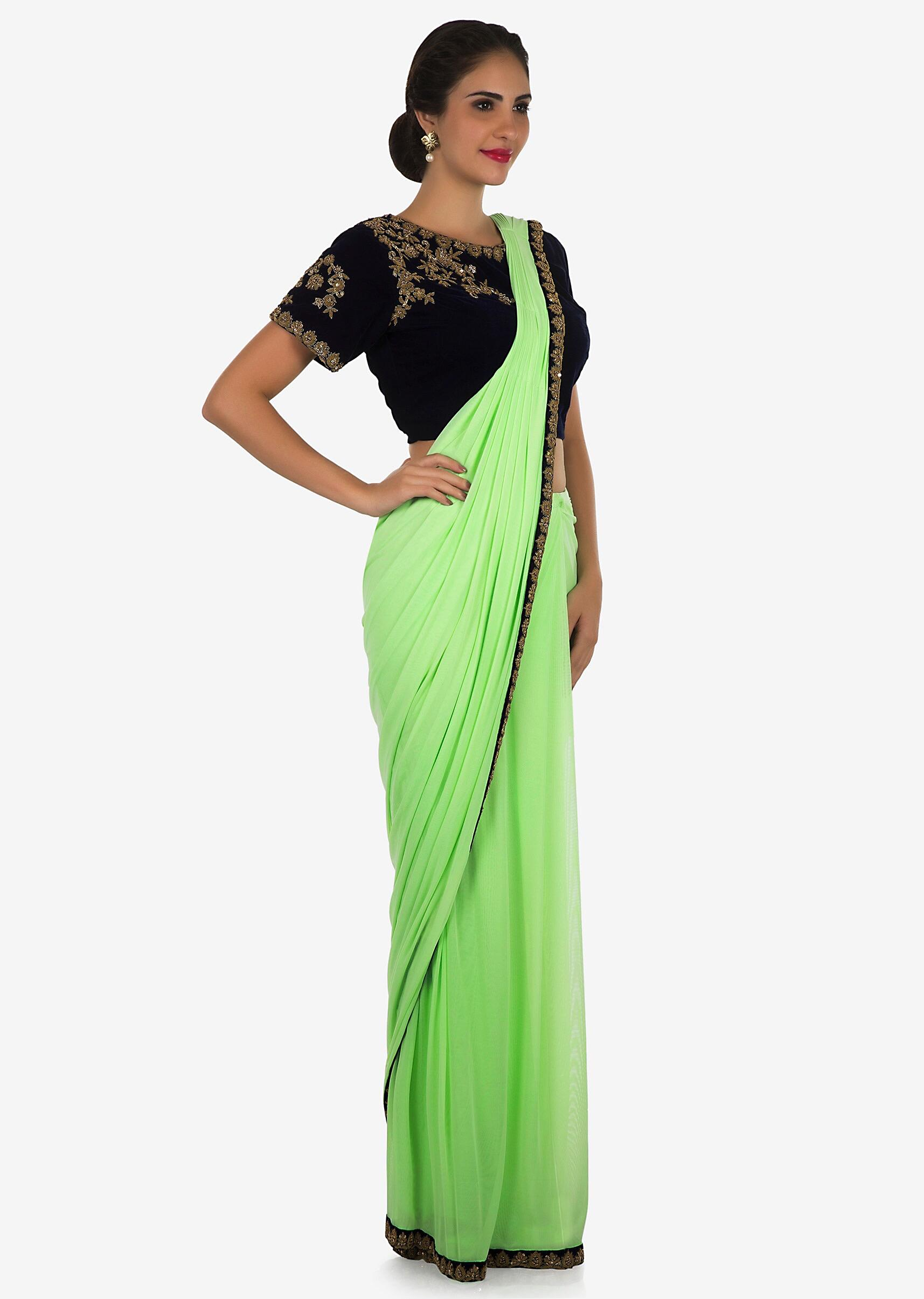 8ca9bd9b77 Pista green ready pleated saree in lycra beautified in zardosi embroidery  work only on KalkiMore Detail