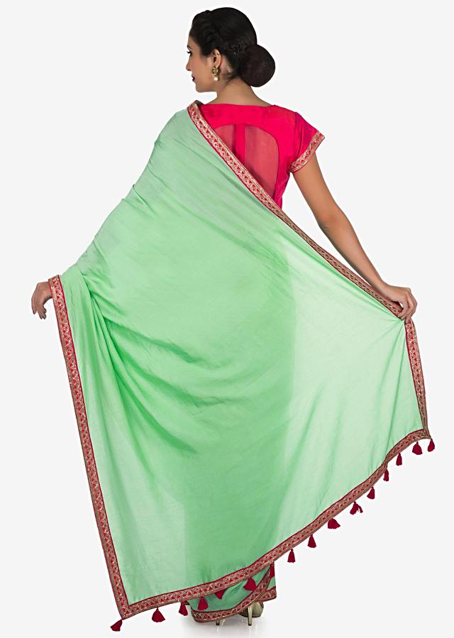 Pista Green Saree In Satin Silk Beautified In Cut Dana Embroidery Work Online - Kalki Fashion