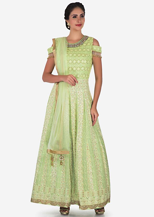 Pista Green Suit In Georgette Embellished In Heavy Stone And Tassel Embroidery Work Online - Kalki Fashion