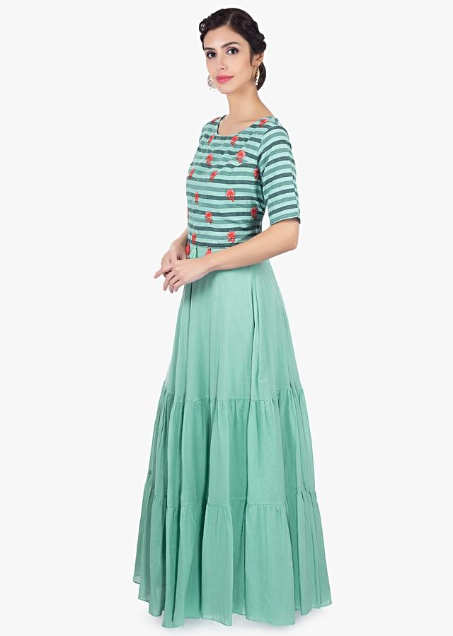 Pistachio Green Tunic Dress In Cotton With Gathers Online - Kalki Fashion