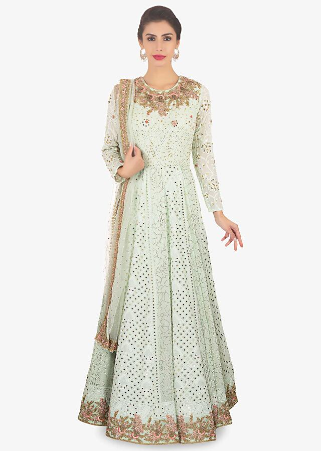 Neeti Mohan In Kalki Pistachio Green Georgette Anarkali In Lucknawi Thread Online - Kalki Fashion