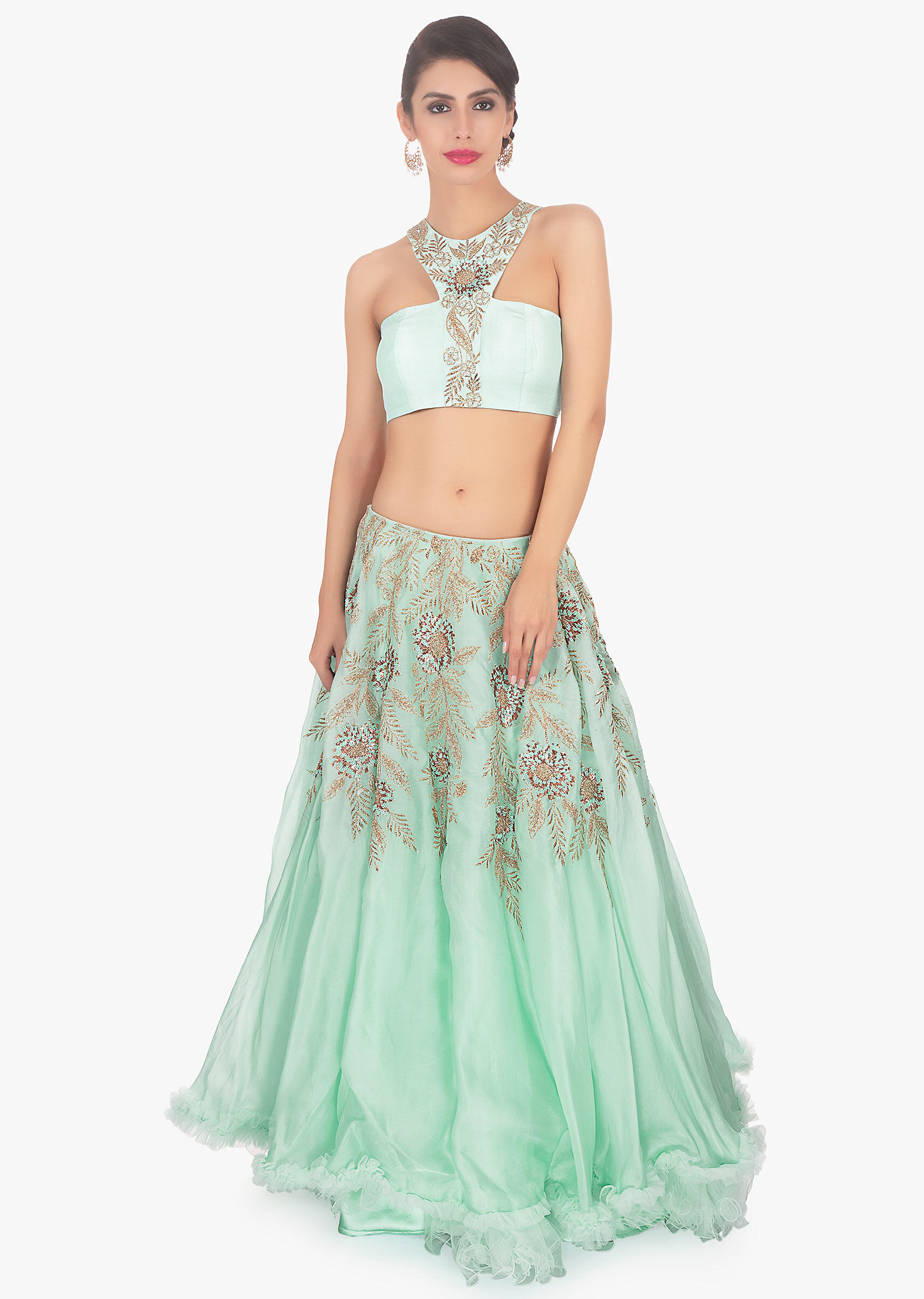 Pistachio green halter neck crepe blouse paired matching organza lehenga  only on Kalki 79c638430