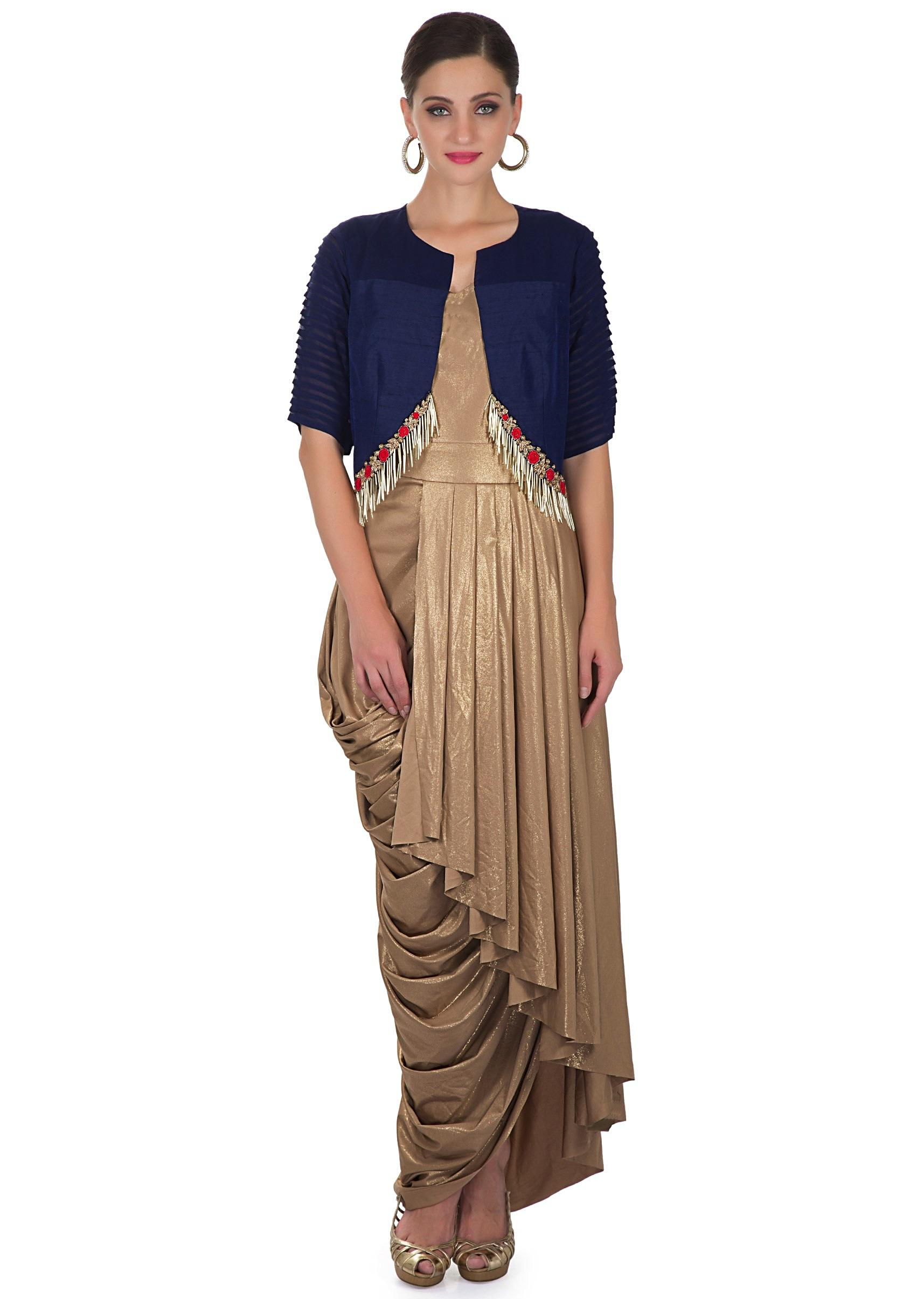 2a3a63e89544 Pleated Gold Dress and Navy Blue Silk Jacket with Floral Motifs and Tassels  only on Kalki