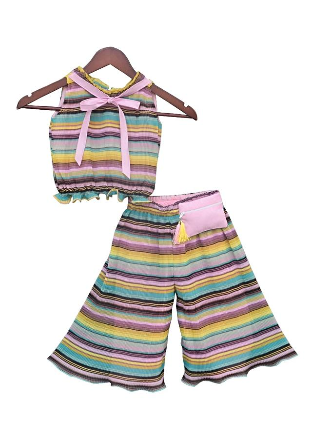Pleated Printed Top And Pant Set by Fayon Kids