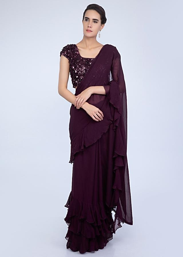 Plum Saree In Georgette With Ruffled Hem And Pallu Online - Kalki Fashion