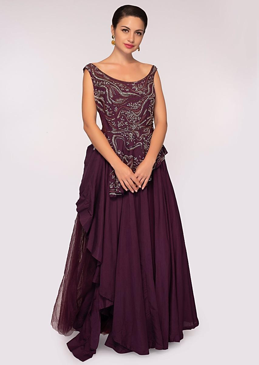 eca95aa04d Plum net gown with peplum style embroidered bodice only on Kalki