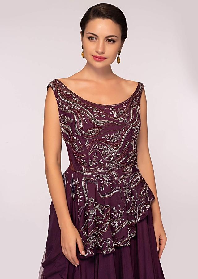 Plum Net Gown With Peplum Style Embroidered Bodice Online - Kalki Fashion
