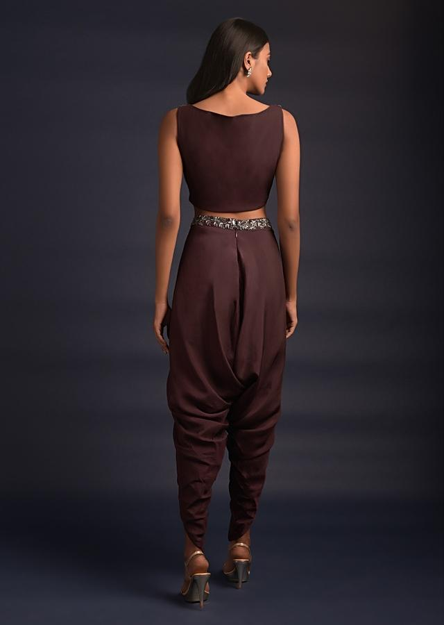Plum Purple Dhoti Suit With Matching Jacket And Heavily Embellished Crop Top Online - Kalki Fashion