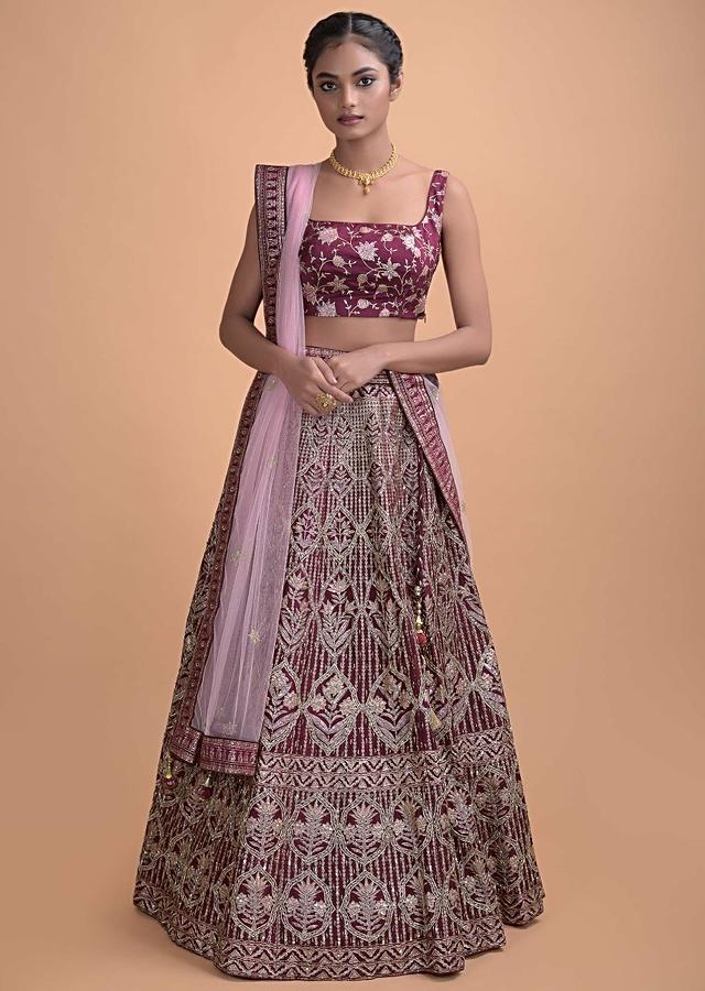 Plum Purple Lehenga In Silk With Foil Print In Ogee And Floral Pattern All Over Online - Kalki Fashion