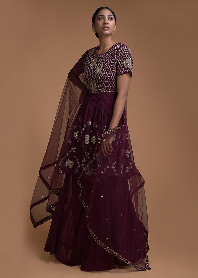 Plum Purple Palazzo Suit With Peplum Top Having Honeycomb And Floral Embroidery Online - Kalki Fashion